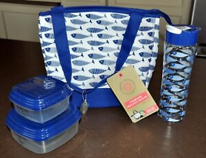 FIT & FRESH COMPLETE INSULATED LUNCH KIT - BLUE & WHITE FISH DESIGN - NEW
