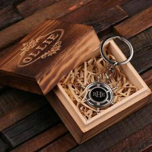 Ahoy Sailors Personalized Stainless Steel Ships Wheel Nautical Keychain Keyring $19.99