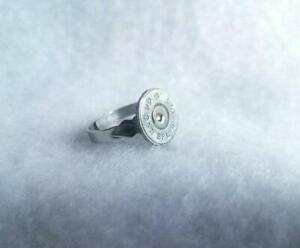 44 caliber bullet shell adjustable ring silver color- bullet jewelry