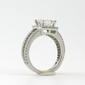 DIAMOND RING HALO SI2 D 18 KT WHITE GOLD 4 PRONGS 3.8 CT COLORLESS SIZE 6.5 8 9