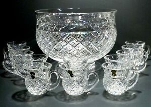 *VINTAGE* Waterford Crystal MASTER CUTTER Masive Punch Bowl and Cup 5 piece set