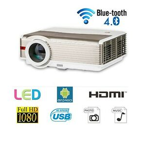 LED Wireless Projector HD with Bluetooth 5000 Lumens Android LCD Bluetooth V...