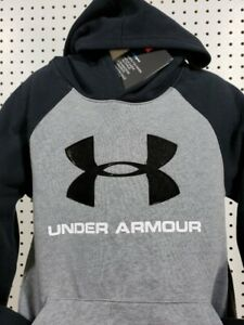 Boys Kids Youth UNDER ARMOUR Pullover Hoodie NEW Small Long Sleeve Grey amp; Black $19.19