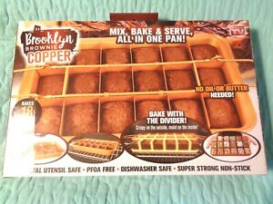 New Brooklyn Brownie Copper Mix Bake & Serve All In One Pan- As Seen On TV NIB