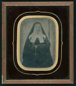 Quarter Plate Ambrotype of Nun Holding Rosary with Cross 6.75