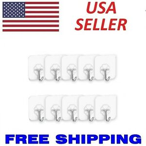 Removable Self Adhesive Hooks Wall Door Plastic Strong Sticky Hook Holder  Clear