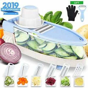 Upgraded Mandoline Slicer With Cut-Resistant Gloves Single Handed Pro-Vegetable