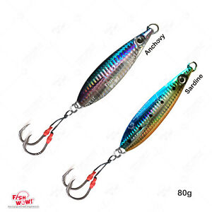 Qty 2 Flat 80g Fishing  Fall Vertical Speed Vertical Jig Butterfly lures Sardine