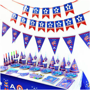 CAPTAIN AMERICA AVENGERS Birthday Decoration Party Supplies Plate Table cover GBP 6.99