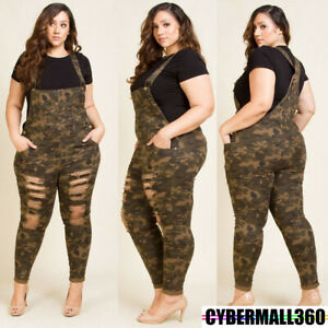 Plus Size Womens Camouflage Jeans Ladies Ripped Jumpsuit Overall Trousers Pants