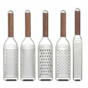 Microplane Master Series Stainless Steel 5pc Grater w/ Walnut Handle Gift Set
