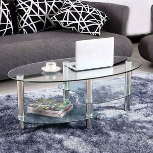 Tempered Glass Oval Side Coffee Table Shelf Chrome Living Room Decor Clear $52.99