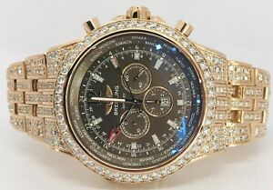 Breitling Bentley GMT 47mm 18k Rose Gold R47362 21cts Diamond Automatic Watch