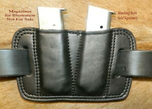 Leather Double MAG POUCH 45acp Single Stack magazine 1911's / Sig P220's