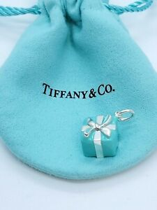 Tiffany & Co Sterling  Silver 925 Blue Enamel Gift Box Charm BIN