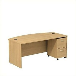 Series C Collection 72W Bowfront Desk W/ 2 Drawer Mobile Pedestal Light Oak NEW