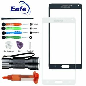 Replacement Screen Lens Front Glass Glue Tools Light For Samsung Galaxy Note 4