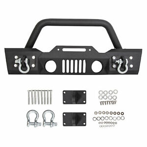 Stubby Front Bumper Winch Plate w/Fog Light Housing For 07-18 Jeep Wrangler JK