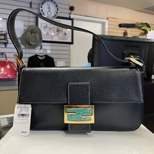 Fendi Black Leather Baguette Shoulder Bag 2454