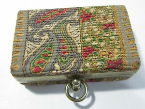 TAPESTRY SMALL BOX JEWELRY TRINKET PURSE BUSINESS CARD HOLDER VINTAGE $17.00