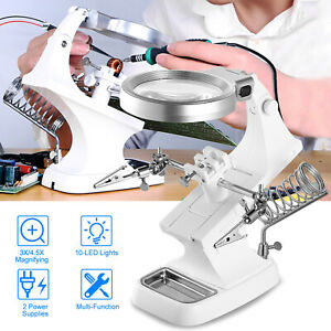 US LED Helping Hand Magnifying Soldering Stand Lens Magnifier Clamp Tool Kit $20.51