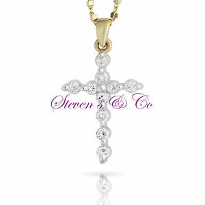 Diamond Cross Necklace Two Tone 14kt Yellow Gold .45ct 16'' Chain