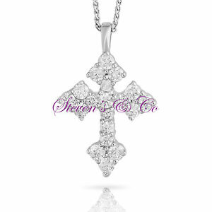 Diamond Cross Necklace 14kt White Gold .87ct 16'' Chain