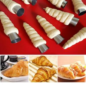5/12Pcs Stainless Steel Pastry Molds Cream Horn Cone Shape Mould Bread Baking US