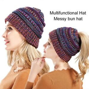 Outdoor Autumn Winter Women Hiking Ponytail Hat Knitted Beanies Print Warm Caps