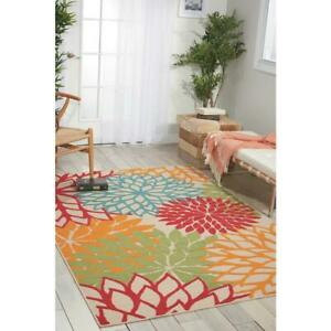 Indoor Outdoor Area Rug 5x7 FT. Aloha Green Tropical Floral Design Latex Backing