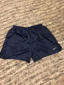 vintage nike running shorts Large Made In The Usa Navy Blue TEAR IN SEAM