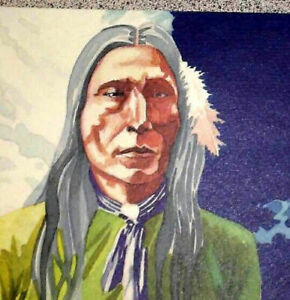 Copyrighted Native American Sioux Litho Indian with Pipe Signed B Penn 1984 RARE