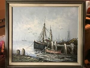 Beautiful Antique Oil Canvas Ships in Harbor Signed Florence $99.99
