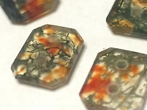 PRIDAY PLUME Dendrite AGATE Faceted Cab BUTTONS (10) Extremely Rare Vintage