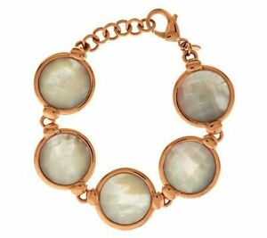 Honora Reversible 14K Rose Gold Over Mother-of-Pearl Adjustable Bronze Bracelet