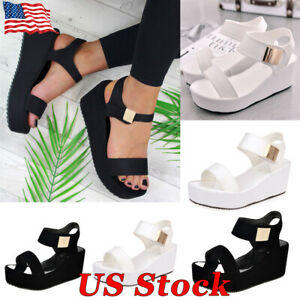 Womens Ladies Open Toe Buckle Ankle Strap High Heel Wedge Platform Sandals Shoes