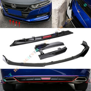 Glossy Black Front Rear Bumper Lips Spoiler Side Wing For Honda Accord 2018-2019