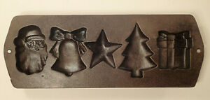 Vintage Lodge 5H12 Cast Iron Christmas Muffin Cornbread Pan Mold