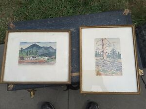 Two Vintage Paintings Signed Framed Watercolors G. Allan Smyth Jr. 1954 $60.00