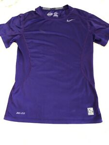 Mens Nike Pro Combat Fitted Short Sleeve Shirt Purple 449787-546 Small