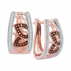 10K Rose Gold 0.33ctw Shiny Pave Red Diamond Flower Pattern Fashion Hoop Earring