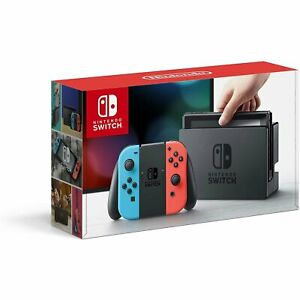 Nintendo Switch Console-Black with Neon Blue & Neon Red Joy-Controller-FREE SHIP