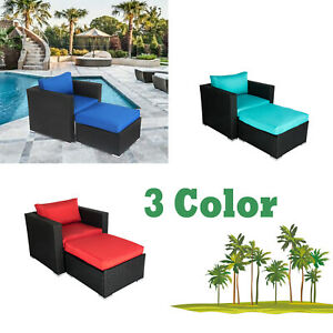 Outdoor Patio Rattan Wicker Furniture Set Sectional Couch Ottoman Sofa Cushioned