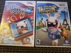 Rayman: Raving Rabbids 1 & 2 TV Party (Nintendo Wii Game Bundle Lot) Complete