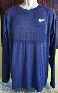 Men's Nike Dri-Fit Knit Running Long Sleeve Shirt Size XL 717760-410 Navy Purple
