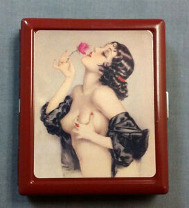 Metal Cigarette Case Red Holder Box Pin Up Girl Rose Vintage Sexy