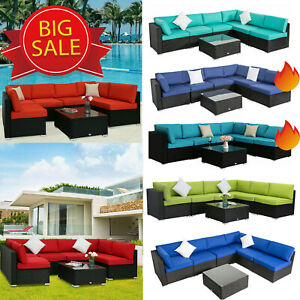 7PC Outdoor Patio Furniture Sofa Set Sectional Couch PE Wicker Rattan Cushioned