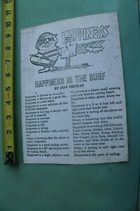 Happiness Is RICK GRIFFIN Murphy Surf 60's Original LITHOGRAPH Poem Comic FLYER