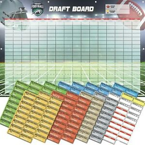 Fantasy Football Draft Board 2019 Kit, w Player Stickers! 3-Feet x 5-Feet Vinyl