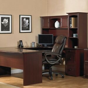 NEW U-Shaped Office Executive Desk WITH Hutch Cherry (+ L-shape)FREE Delivery